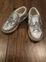 GIRLS SIZE 5 NEXT SILVER SLIP ON SHOES SUMMER/TOWIE/PARTY/SWIM/HOLIDAY/EVENING