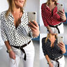Women Polka Dot V Neck Blouse 3/4 Sleeve Tops Summer Casual Work Loose Shirts XL