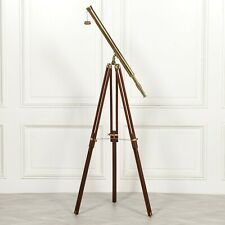 MARINE FULL SIZE NAUTICAL BRASS TELESCOPE ON ADJUSTABLE WOODEN TRIPOD STAND