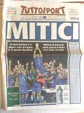 ITALIA CAMPIONE DEL MONDO CALCIO 2006 GERMANIA VS. FRANCIA MITICI TUTTOSPORT