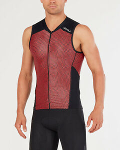 New 2XU Men Perform Multisport Singlet Triathlon Tri Top Cycling Swim Red MEDIUM