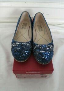 SALVATORE FERRAGAMO blue sequin ballet flat size 9