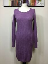 Kew Jigsaw Suave Pura Lana Merino Cable de punto Jersey Elástico Vestido Talla M púrpura