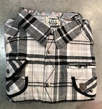 Kanji Plaid Button Up In WHT/BLK/TAN/GRY Sz. 3xl NWT 100% Authentic