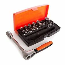 "BAHCO SL25 25 Piece 1/4"" Hex Sockets + Mini 1/4"" Ratchet & Screwdriver Bit Set"
