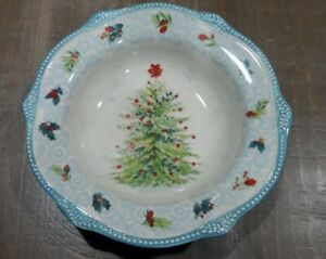 """Pioneer Woman Cheerful Lace Holiday Christmas 9"""" Bowls Set of 4 TEAL NEW"""