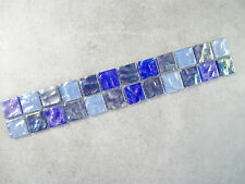 Hammered Pearl Glass Mosaic Border Tiles - Blue Mix - 30cm x 5cm