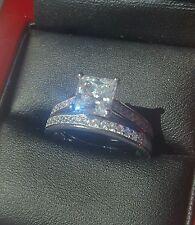 925 Corte Princesa 1.5ct Plata compromiso de diamante anillo nupcial conjunto Talla N/1/2