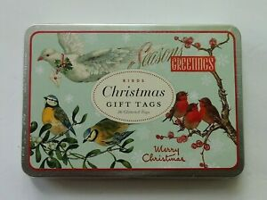 Birds Christmas Gift Tags in Tin Cavallini & Co 36 Glittered Tags 6 Designs NEW