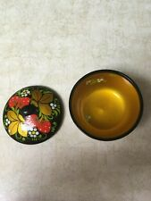 Vintage Khokhloma Russian Folk Art Hand Painted Small Wooden Covered Bowl