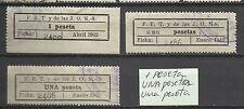 9112-3 sellos FALANGE.FET Y DE LAS JONS VEA:UNA peseta,una pesetas,1 peseta.raro