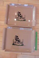 2 Vintage Dinner Serving tray plate DaNiel Baer Jockey horse jumping equestrian