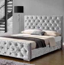 CRUSHED VELVET FABRIC UPHOLSTERED BED 3FT, 4FT 6, 5FT ,6FT CHEAPEST BED ON EBAY