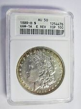 1889 O MORGAN DOLLAR VAM 1A1 ANACS AU50 TOP 100