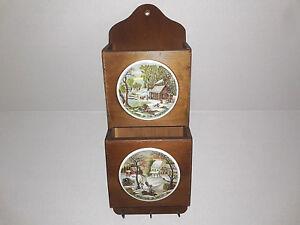 Vintage Enesco Wood Letter Bills Organizer Key Holder Japan