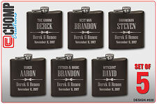 5 Personalized Engraved Flasks, Groomsman Gifts, Wedding Bridesmaid Party
