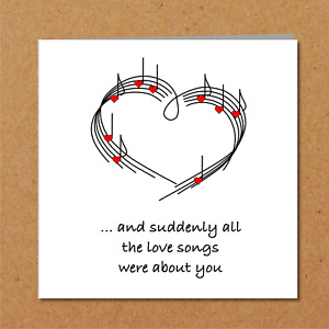 LOVE SONG CARD boyfriend husband girlfriend wife valentines birthday anniversary
