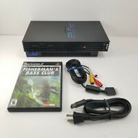 Sony Playstation 2 PS2 Fat Black SCPH-39001 Console w/ Cords & Game Tested