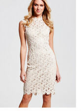 Ladies New Sleeveless High Neck Crochet Nude Dress Size 10 UK