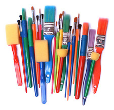 Assorted Set 25 Brushes & Foam Dabbers Childrens Painting Stencil & Craft 571-25