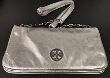 Original Tory Burch Metallic Silver Cross body Purse Bag Handbag w/ dust bag