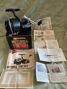 Mitchell 300 Garcia Fishing Reel Vintage w/ Manual Mint In Nice Box