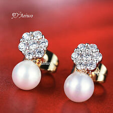18K YELLOW WHITE GOLD GF CLEAR CRYSTAL PEARL FLOWER STUD EARRINGS SMALL CUTE