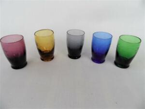 Set x 5 Vintage Retro Harlequin Colours Etched Shot  Liqueur Glasses