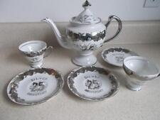 Vintage 6 pc 22 Kt PLATINUM 25th ANNIVERSARY TEA POT 2 Cups 3 Saucers set VGC