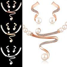 Bridal Women Necklace Pearl Rhinestone Crystal Jewelry Set Wedding Earrings Gift