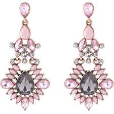Boucles d'Oreilles Doré Chandelier Art Deco Cristal Rose Gris Long Mariage XX24