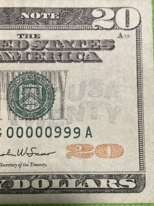 2004A $20 dollar 《 Binary number 00000999 Number》 XF! WOW Super top Rare!