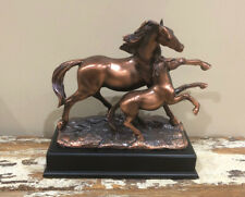 Beautiful Treasure of Nature Bronze Finish 10x9 Inches Horse And Fawn Statue