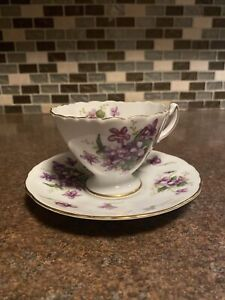 Rossetti Spring Violets Cup And Saucer Occupied In Japan China White Purple