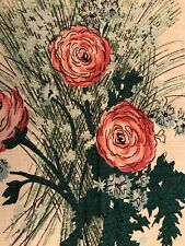 Vintage Barkcloth Fabric 2 Yards Roses Green Pink Blue Wildwood Vat Print