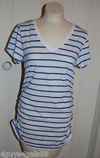 Womens Long Cinched Side V Neck Tee Shirt ROYAL BLUE WHITE STRIPE M 8-10