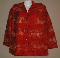 WOMENS CHICO'S RED SILK ASIAN THEME PRINT TOP BLOUSE SHIRT SIZE 0 S EMBROIDERED