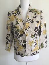BANANA REPUBLIC Women's Size 4 100% Linen 3/4 Sleeve Blazer Brown Gold Pockets