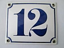 Hausnummer Nr. 12 dunkel-blaue Zahl auf weißem Hintergrund 12 cm x 10 cm Emaille