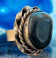 Ring Alpaka Silber Stein Achat blau Ethno Indianer Inka Maya Stil 07
