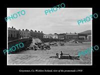 OLD LARGE HISTORIC PHOTO OF GREYSTONES WICKLOW IRELAND, VIEW OF PROMENADE c1910