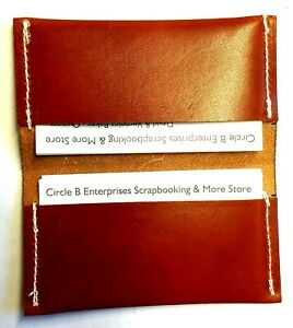 Leather Pocket BUSINESS CARD HOLDER - Hand Sewn - Brown