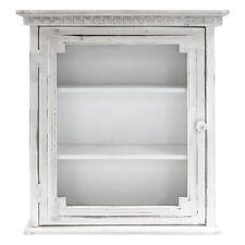 Modern Wall Cabinet Storage Bathroom White Rustic Shelf Glass Cupboard Kitchen