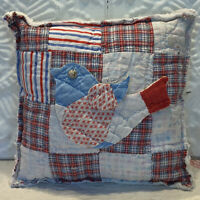 NEW Handmade Patriotic Bird Pillow  Vintage Quilt Chenille Bedspread  So Cute!!