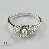 925 Sterling Silver Ring 3 CZ Stones Engagement New J,K,L,N,O,P,Q,R,S + Gift Bag