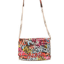 RRP €880 DSQUARED2 Leather Crossbody Bag Colourful Graffiti Print Made in Italy