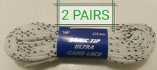 "2 Pairs of Pro Guard Sonic Tip Ultra Hockey Skate Laces 108"" White"