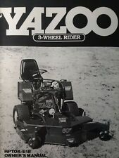 Yazoo Commercial 3-Wheel Rider Lawn Mower Tractor HPTOK-E18 Owner & Parts Manual