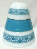 Vintage Pyrex Set 3 Nesting Bowls Horizon Blue Cinderella 401 402 403 Milk Glass