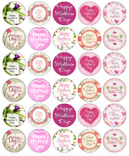 30 x Mothers Day Cupcake Toppers Edible Wafer Paper Fairy Cake Toppers